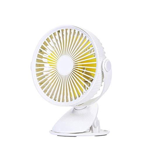 WSJ - Ventilador pequeño para dormitorio (tamaño pequeño, recargable, silencioso, 20 x 13,3 x 17 cm), color amarillo