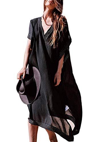 Orshoy Damen Bohemian Tunika Kleid Strandkleid Maxikleid Vintage Strandtunika Baumwolle Sommer Kleid Überwurf Kaftan Bikini Tunika Cover up Loose fit Schwarz