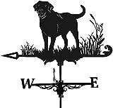 Alnicov Veleta de metal animal para el clima, color negro, estilo vintage, indicador de dirección de viento hueco para jardín al aire libre, decoración de paletas meteorológicas (perro)