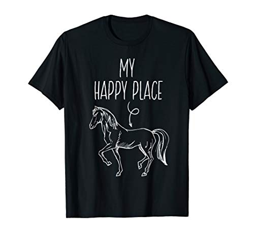 My Happy Place Horse Lover Gifts Horseback Riding Equestrian T-Shirt