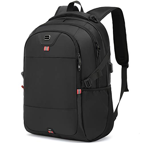 Laptop Backpack 15.6 Inch Water Resistant Backpacks Durable College Travel Daypack Anti Theft with USB Charging Port Best Gift for Men Women Boys Girls Students (15.6 Inch, Black)