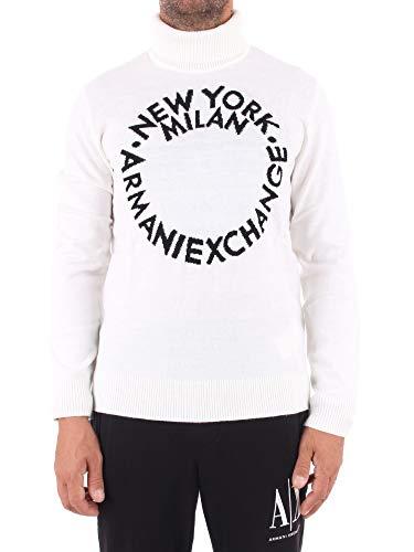 A X Armani Exchange Men's Acrylic Mix Cotton Turtle Neck Pullover, White, S