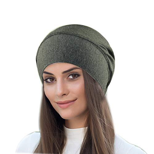QKURT Modal Sleep Caps, Weiche Schlafmütze Kopfbeschwörer Turban Caps Schlafmütze Headwrap für Frauen Mädchen Schlafen Chemo Haarausfall