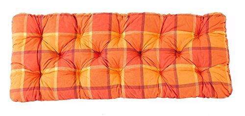 Ambientehome 2er Sitzkissen Bank Evje, kariert orange, ca 120 x 50 x 8 cm, Polsterauflage, Bankauflage