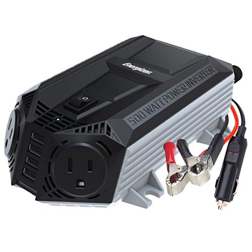 Energizer 500 Watts Power Inverter w/ 48 Watts USB Ports, Modified Sine Wave Car Inverter, DC to AC Converter with Dual 110 Volts AC Outlets and 4 USB Ports 2.4A ea - METLab Approved Under UL Std 458