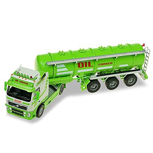 Xolye Kraftstofftank-LKW-Modell 01.50 Legierung Technik LKW Mobil Kraftstoff-LKW-Spielzeug-Kind-Spielzeug-Auto-Geschenk-Simulation Transport LKW Tank ziehen Auto-Spielzeug (Color : Grün)