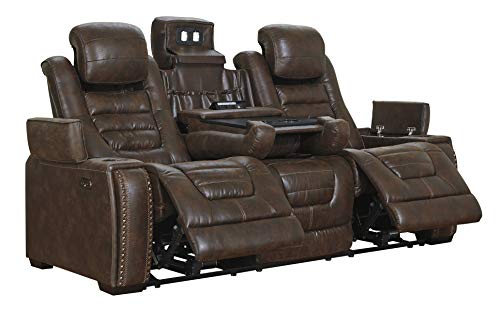 Signature Design by Ashley - Game Zone Contemporary Faux Leather Power Reclining Sofa - Adjustable Headrest, Dark Brown