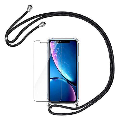 AROYI Funda con Cuerda para iPhone XR + Protector Pantalla,