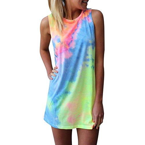 Andy's Share, Damen Armlos Lässig Top Minikleid mit regenbogenartigen Farben (S)