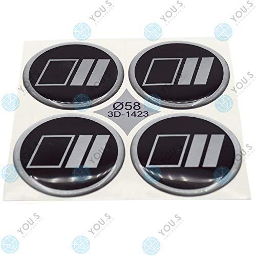 8 X YOU.S Cache-Moyeux Autocollants Silicone 58,0 mm - Argent Noir Emblème Auto-Adhésif