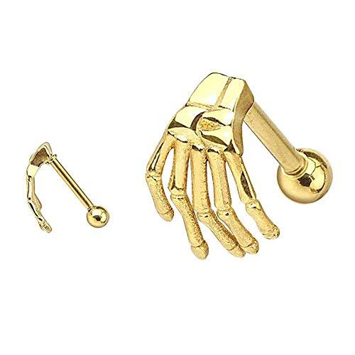 BBWY Spiral Earrings, Earrings, Stainless Steel Skeleton Hand Barbell Ear Cartilage Spiral Earring Stick-Gold