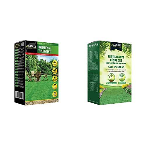 Semillas Batlle de Césped Ornamental y Resistente 1Kg + Abonos Fertilizante Césped...