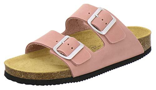 AFS-Schuhe 2100, Bequeme Damen Pantoletten echt Leder, praktische Arbeitsschuhe, Hausschuhe, Handmade in Germany (43 EU, rosato)