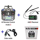 Flysky FS-i6 6CH 2.4GHz AFHDS RC Transmitter w/FS-iA6B Receiver Data Cable for RC Multirotor Quadcopter Helicopter Airplane Glider (Model_2)