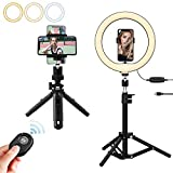 Luz de Anillo LED Uktunu 10' Lámpara de Selfie Anillo de Luz con 3 Trípode Control Remoto Bluetooth 3 Modos de Luces Regulable para Móvil Selfie,Fotografía,Maquillaje,Youtube,TIK Tok Live
