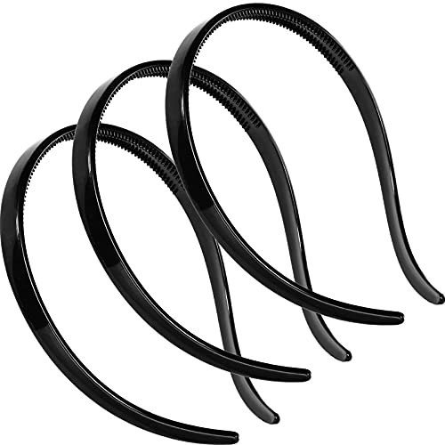 3 Pieces Flex No Pressure Headbands Effortless Plastic Teeth Comb Headbands Skinny Hair Bands Plastic Hair Loop Hair Accessories for Women and Girls (Black)