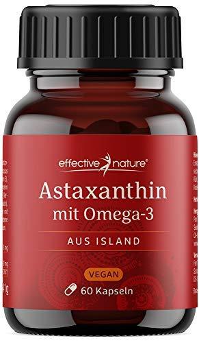 effective nature - Astaxanthin & DHA - Hochdosiert & Vegan - Natürliches Astaxanthin aus Island - Laborgeprüftes Premiumprodukt - Mit natürlichem Vitamin E - 60 Kapseln