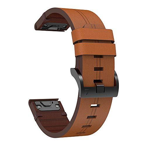 G-RF Bandas De Repuesto para Garmin Reloj Inteligente 26mm 22mm 20mm Correa De Cuero Negocios Pulseras (26mm,Marrón)