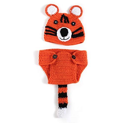 Accesorios De Fotografía para Bebés Recién Nacidos, Diseño De Tigre, Pantalones De Ganchillo, Sombrero para Niños Y Niñas (Naranja Y Negro