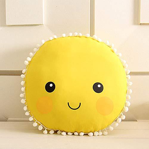 FKIHK Sitzkissen33,5 cm große Emoji Kissen Gesicht plüschtier Nette runde weiche Kissen Baby Spielen nach Hause Sofa Auto zurück Dekoration Kissen sonnig Kinder Geschenk, gelb, Siehe unten für größ