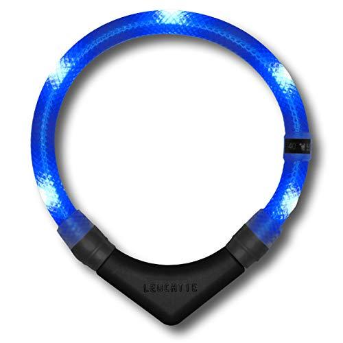 LEUCHTIE® Leuchthalsband Premium blau Größe 42,5 I LED Halsband für Hunde I konstante Leuchtkraft I wasserdicht I extrem hell