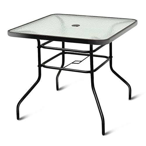 Tangkula Patio Table Outdoor Garden Balcony Poolside Lawn Glass Top Steel Frame All Weather Dining Bistro Table (Square Black 32')
