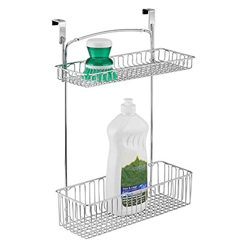 mDesign Estantería colgante para cocina y productos de baño - Práctico organizador de armario en acero cromado - Repisa para cocina fácil de colocar con dos estantes