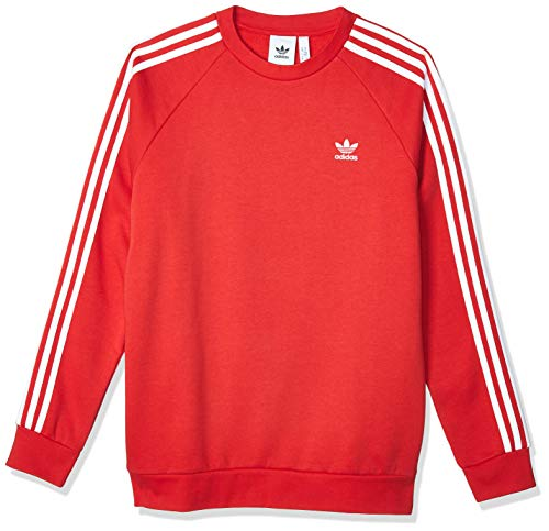 adidas Mens 3-Stripes Crew Pullover Sweater, Lush Red, S