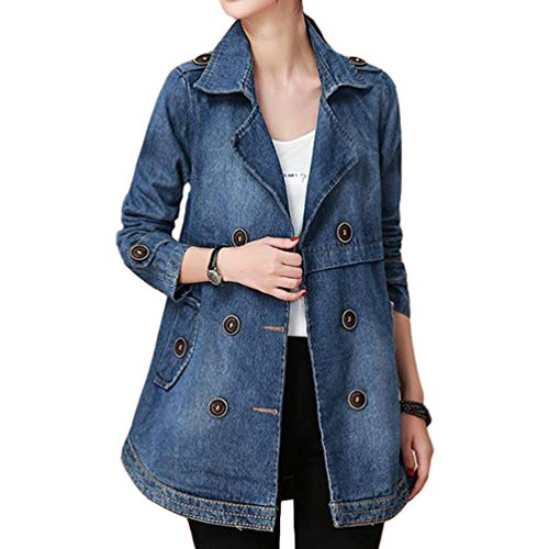 Your Gallery Women's Notch Collar Double Breasted Button Embellished Long Sleeve Denim Coat,Blue,M