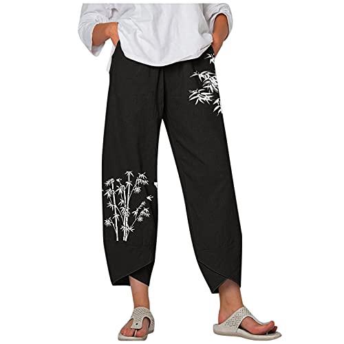 feftops Pantalones Anchos Mujer Verano Tallas Grandes Casuales Sueltos De AlgodóN Y Lino Harem Pantalones con Bolsillos de Cintura Elástica Fluidos Hippie Danza Pilates Yoga Pants