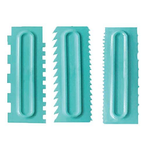 zunbo - Juego de 3 rascadores de pasteles de plástico con dientes de sierra, raspador, rascador de pasta y cortador de pasta para fondant, decoración de pasteles