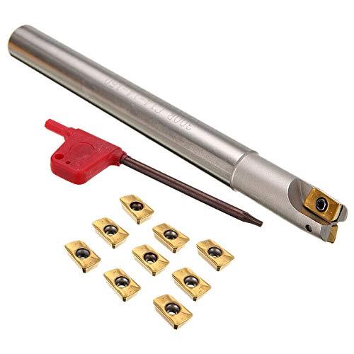 Gallaxy Bap 300R C14-14-130 Fresa Sostenedor de Herramienta 12 X 130Mm + 10 Piezas Apmt1135Pder Llave Inserta para Fresadora Cnc
