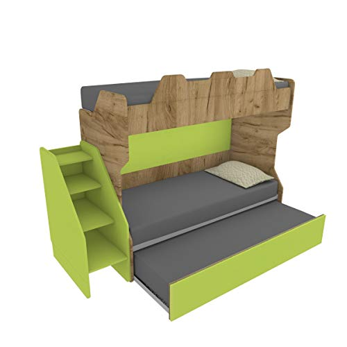 MOBILFINO CAMERETTE SMARTR - Litera con tercera cama extraíble y elevable, 80 x 190 cm, fabricada en Italia
