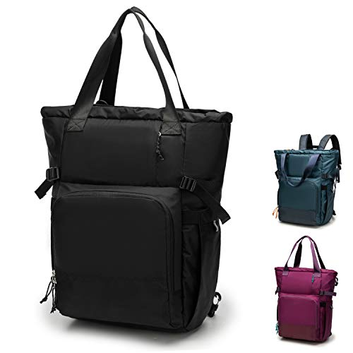 Ultra Lightweight Diaper Bag Backpack With A Travel Friendly, Casual Sporty Design. Convertible to Shoulder Tote Bag. (Black)