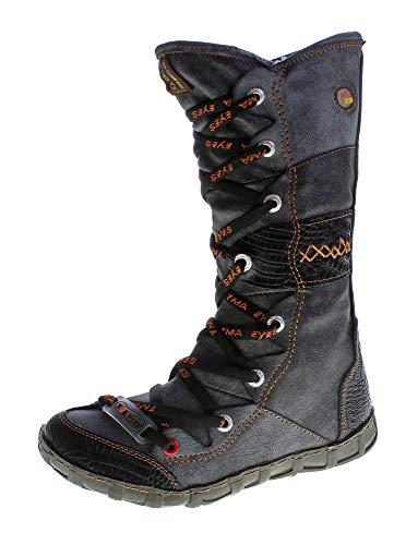 Leder Stiefel TMA Damen Winter Schuhe gefüttert Schwarz Kniehohe Damenstiefel used look Gr. 36
