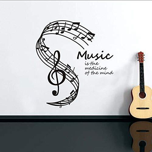 jukunlun La Música Es La Medicina De La Mente Pegatinas De Pared Para La Decoración De La Sala De Estar Notas Musicales Stave Music Note Tatuajes De Pared Decoración Para El Hogar58X66Cm