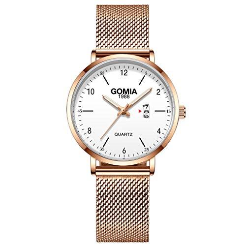 JZDH Relojes para Mujer Relojes Hembras Simples Moda Reloj de Pulsera de Cuarzo Elegante Señoras de Acero Inoxidable Malla de Malla Reloj Reloj Mujer Relojes Decorativos Casuales para Niñas Damas
