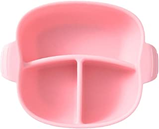TOYANDONA Divided Baby Plates Silicone Plates Kids Compartment Plates Dinner Plates for Baby Kids and Toddlers Pink