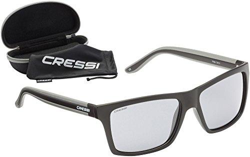 Cressi Unisex-Erwachsener Rio Sunglasses Premium Sport Sonnenbrille Polarisierte 100% UV-Schutz, Brillengestell Schwarz/Hellgraue Linsen, Einheitsgröße