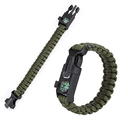 GAESHOW Pulseras, Pulseras de supervivencia de Paracord para hombres, mujeres, brazaletes al aire libre, cuerda de paraguas envolvente(Verde)