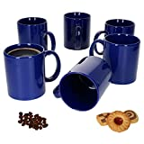 Van Well 6er-Set-Kaffeetassen Zylindrisch I Porzellan-Tasse groß - in diversen Farben I pflegeleichtes Tassen-Set - für Spülmaschine & Mikrowelle geeignet I 375 ml Kaffeebecher Blau 6 Stück