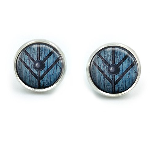Lagertha Shield Maiden Glass Dome Round Cabochon Stud Earrings Gift UK