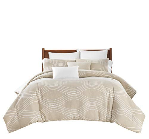 Lionel Richie Home Lifestyle Collection - 7 Piece Lightweight King Size Comforter Set – Tan/Wave 100% Polyester Soft Comforter (1 Comforter, 2 Shams, 2 Euro Shams, 2 Decorative Pillows)