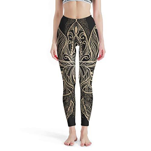 JEFFERS Vrouwen Compressie Fitness Yoga Leggings Zwart Gouden Mandala Gym Panty Legging Broek Niet Doorschijnend Stof