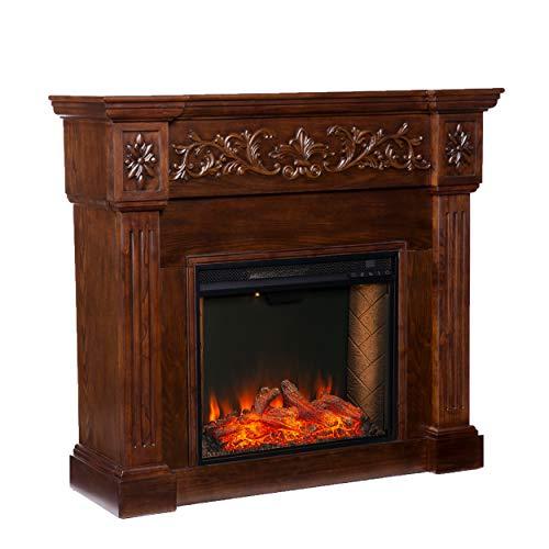 SEI Furniture Calvert Alexa-Enabled Electric Carved Floral Trim Fireplace, Espresso