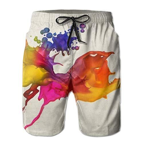 WU4FAAR Herren Strand-Shorts, Blumen-Vogel-Schwimmhose, schnell trocknend, Surf-Badeanzug Gr. L, Tintenstrahldrucker.