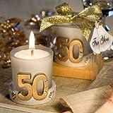 Lote de 10 Velas Boda 50º Aniversario en Caja de Regalo - Velas para Recuerdos y Detalles de Bodas d...