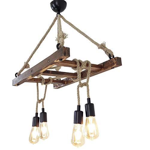 Fienzi kroonluchter houten ladder met touw   Fienzi Chandelier Wood Ladder With Rope   Industriële kabelverlichting met 4 lamphouder E27   60 x 34 x 80 cm
