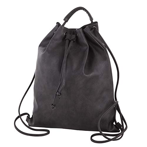 LOUBS Damen Rucksack stylischer Turnbeutel für Damen und Mädchen aus Kunstleder (35x41x2,5cm) (schwarz)