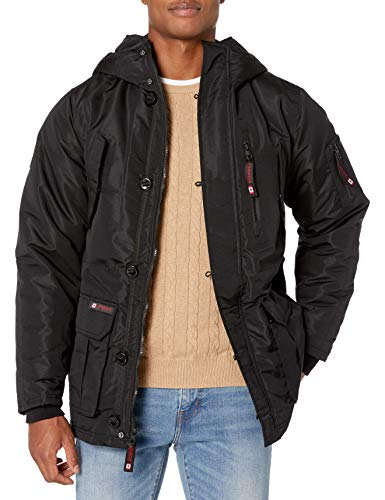 CANADA WEATHER GEAR Men's Heavy Weight Parka, Sleeve Patch Black, L